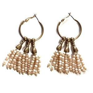 Gold Hoop Pink Beaded Tassel Earrings